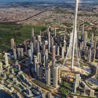 Concept design for a cultural district located along the Dubai Creek appears to peel back from the land Arabic